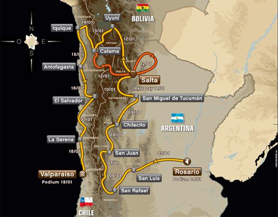 Mapa Ruta Dakar 2014